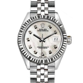 Rolex Datejust Stainless Steel with White Mother of Pearl Dial 26mm Womens Watch