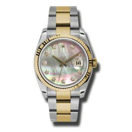 Rolex Datejust Steel and Yellow Gold Black Mother Of pearl Diamond 36mm Watch