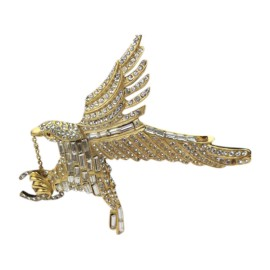 Chanel Gold & Crystal Eagle With CC Charms Brooch