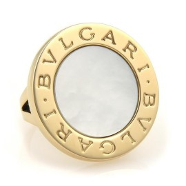 Bulgari Mother of Pearl 18K Yellow Gold Large Round Top Ring