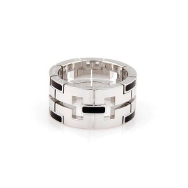Cartier 18K White Gold with Black Enamel Dragon Band Ring Size 6.75