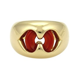 Bulgari Bvlgari 18K Yellow Gold and Carnelian Double Hearts Ring Size 5.5