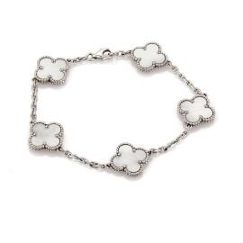 Van Cleef & Arpels Alhambra 18K White Gold with Mother of Pearl 5 Clover Bracelet