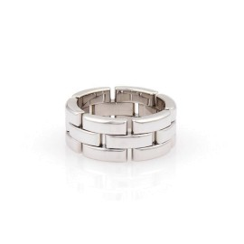 Cartier Maillon Panthere 18K White Gold Three Rows Link Ring Size 5.75