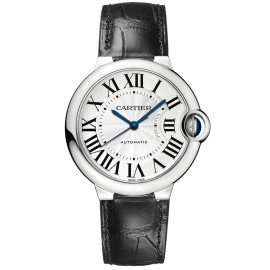 Cartier Ballon Bleu 36mm w69017z4 Stainless Steel Black Leather Watch