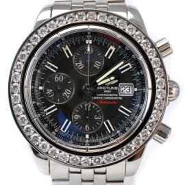 Breitling Windrider Evolution A13356 Black Dial Diamond Bezel Stainless Steel 45mm Watch