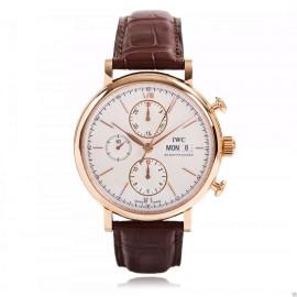 IWC Portofino Chronograph IW391020 18K Rose Gold Silver Dial Watch