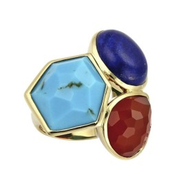 Ippolita Gelato 18K Yellow Gold Multicolor Gemstone Ring Size 7.5