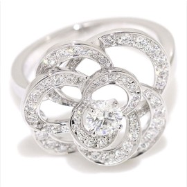 Chanel 18K White Gold 0.31ct Diamond Camelia Ring