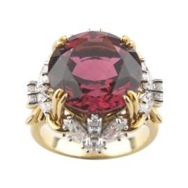 Tiffany & Co. 950 Platinum Schlumberger Pink Tourmaline and Diamond Flower Ring Size 4.75