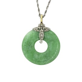 Tiffany & Co. Art Deco Jade Diamond Pendant Necklace