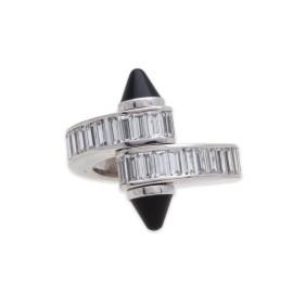 Cartier 18k White Gold Baguette Diamond Onyx Ring