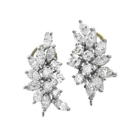 Cartier Platinum and 14K Yellow Gold Diamond Cluster Earrings