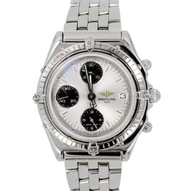 Breitling A13048 Chronomat Stainless Steel Chrono Date Silver Dial Automatic Mens Watch