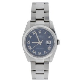 Rolex Datejust 116200 Oyster Stainless Steal Blue Roman Mens Watch