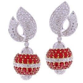 Van Cleef & Arpels 18k White and Yellow Gold Ruby Diamond Earrings