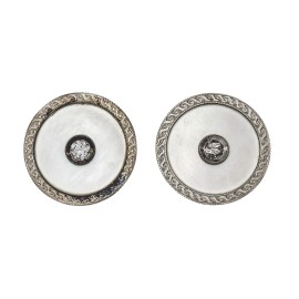 14K Yellow Gold Platinum Mother of Pearl Diamond Button Earrings