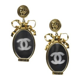 Chanel Gold Tone Mirror 'CC' Bow Oversized Clip On Earrings