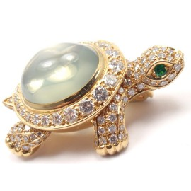 Cartier Turtle 18k Yellow Gold 4.50 Ct Diamond Moonstone Pin Brooch