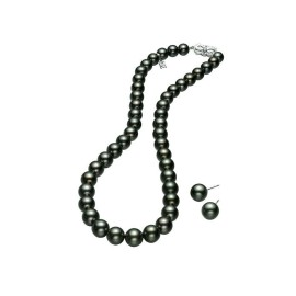Mikimoto 18K White Gold Tahitian Pearl Necklace & Earring Set