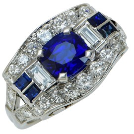 Tiffany & Co. Platinum Diamonds & Blue Sapphire Ring Size 5.25