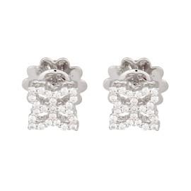 Roberto Coin 18K White Gold 0.32ct Diamond Hollow Princess Flower Stud Earrings