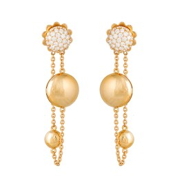 Roberto Coin 18K Yellow Gold 0.83ct Diamonds with Gold Discs Drop on Chain Loop Earrings