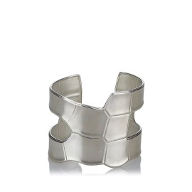 Hermes Sterling Silver Textured Cuff Bracelet