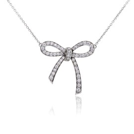 Tiffany & Co. Platinum Diamond Bow Pendant Necklace