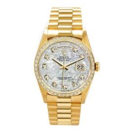 Rolex Men's President Yellow Gold Custom Mother of Pearl Diamond Dial and Diamond Bezel Watch