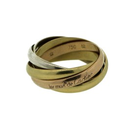 Cartier Trinity 18K Yellow/Rose/White Gold 5 Band Size 5.5 Ring