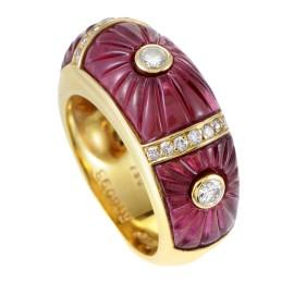 Cartier 18K Yellow Gold Diamond & Pink Tourmaline Band Ring Size 4.75