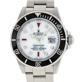 Rolex Submariner 16610 Stainless Steel with White Mother Of Pearl Diamond and Ruby 40mm Mens Watch