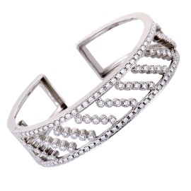 18K White Gold with 3.40ct Diamond Cuff Bracelet
