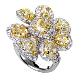 Odelia 18K Multi-Tone Gold & Diamond Cluster Ring