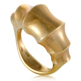 Womens 18K Yellow Gold Bamboo Ring