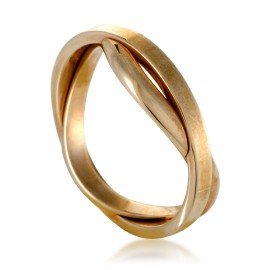 Twisted Unisex 18K Yellow Gold Wedding Band Ring