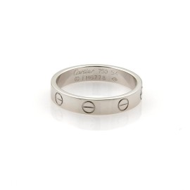 Cartier Mini Love 18k White Gold 3.5mm Band Ring Size EU 54-US 6.75