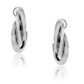18K White Gold Cuff Earrings