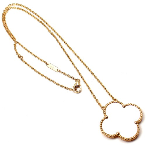 Van Cleef & Arpels Magic Alhambra 18K Gold Mother Of Pearl Pendant Necklace