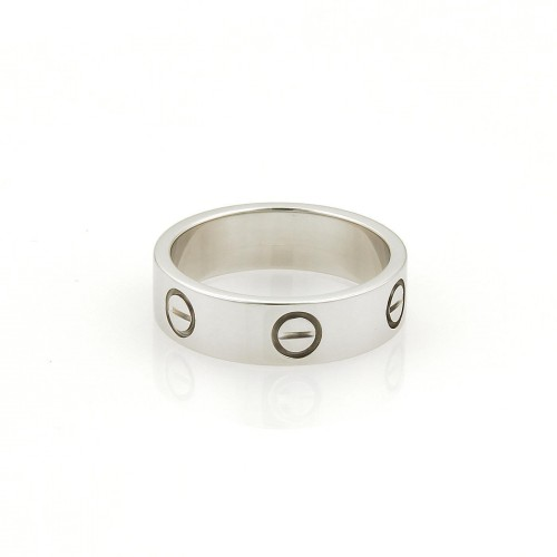 Cartier Love 18K White Gold Band Ring Size 6.75