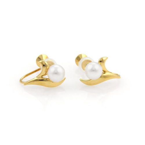 Mikimoto Pearls 18K Yellow Gold Leaf Design Screw Back Earrings