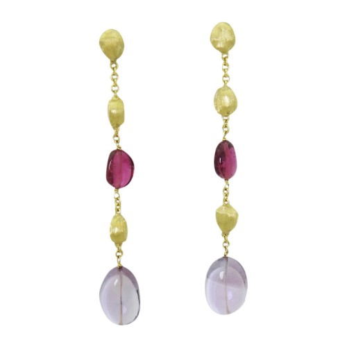 Marco Bicego 18K Yellow Gold Tourmaline & Amethyst Drop Dangle Earrings