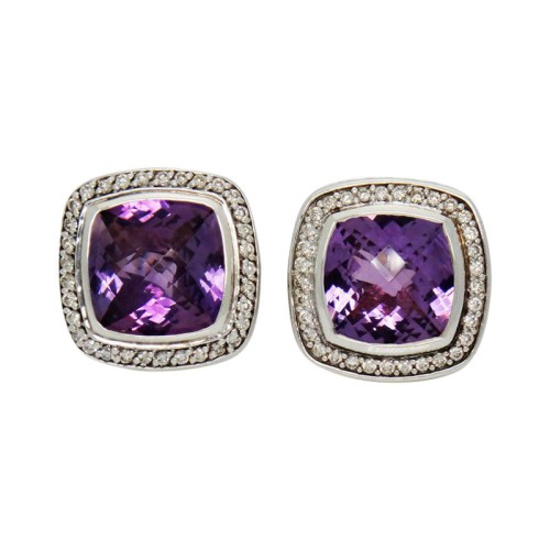 David Yurman Albion Diamond Amethyst Sterling Silver Clip Earrings