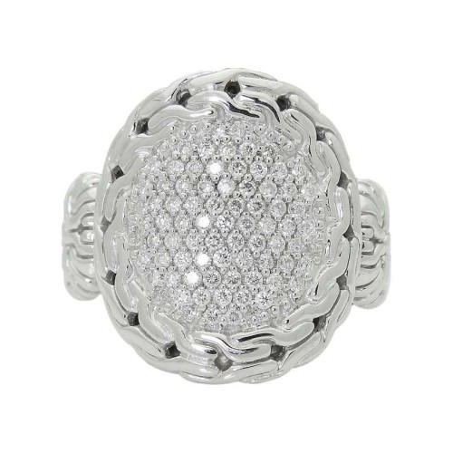 John Hardy Silver Carved Chain Diamond Pave Circle Contour Ring