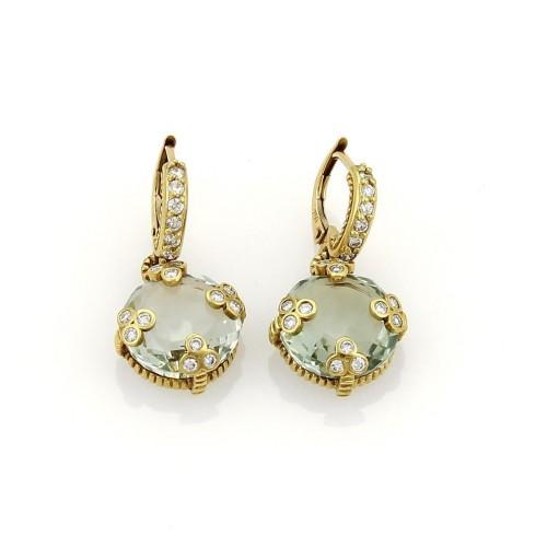 Judith Ripka 18K Yellow Gold 0.25ct Diamond & Prasiolite Drop Earrings