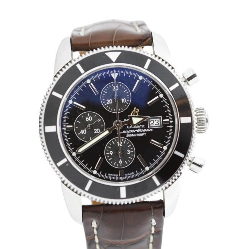 Breitling Super Ocean Heritage Chronograph A13320 Alligator Deploying Strap Watch