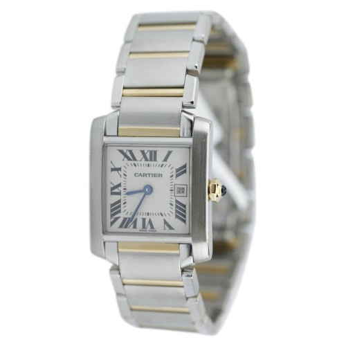 Cartier Tank Francaise Two Tone Gold Small On Bracelet Watch