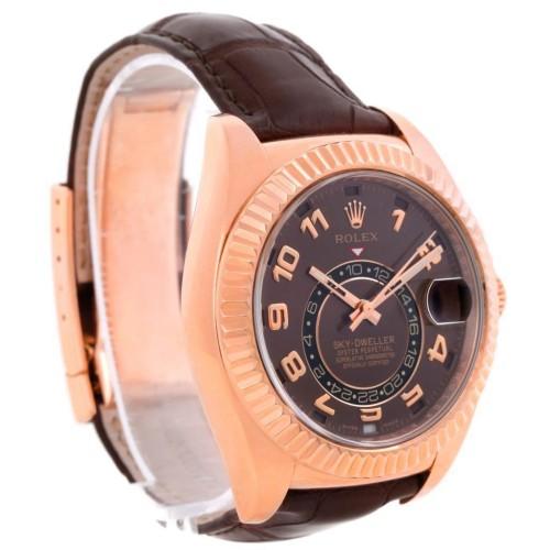 Rolex Sky-Dweller Everose  326135 Chocolate Brown Rose Gold Mens Watch