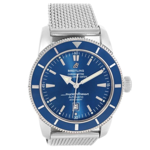 Breitling A17320 Superocean Heritage 42 Blue Dial Mesh Stainless Steel Bracelet Mens Watch